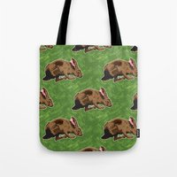 hare Tote Bags featuring Hare by Skekfaer
