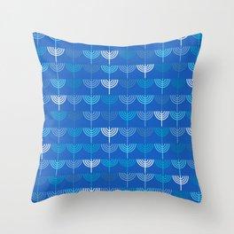 Hanukkah Chanukah Menorah Chanukkiah Pattern in Blue Throw Pillow