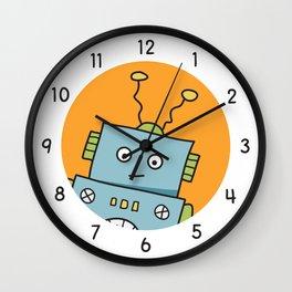 Friendly Blue Robot Wall Clock