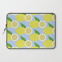 Lemon fruits on blue Laptop Sleeve