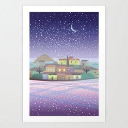 Snowing Village at Night Art Print
