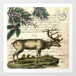 western country primitive christmas mountain animal wildlife winter pine tree elk Art Print