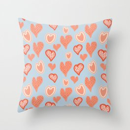Vintage pop Hearts Pattern Throw Pillow