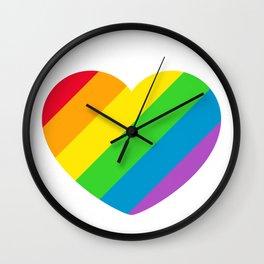 Rainbow LGBT Pride Heart Wall Clock