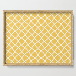 Yellow and white curved grid pattern Serving Tray