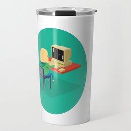 Nerd playing Pong Travel Mug