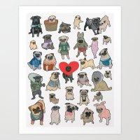 pugs Art Prints featuring Pugs by Yuliya