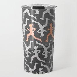 Grey and Pastel Running Girl Pattern Travel Mug