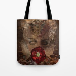 Lady with the red rose Tote Bag
