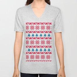 Colorful pink blue watercolor scandinavian pattern Unisex V-Neck