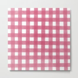 Blush Pink Gingham Pattern Metal Print