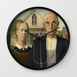 American Gothic Oil Painting by Grant Wood Wall Clock