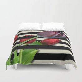 Red & Purple Tulips Black Layered Stripes Duvet Cover