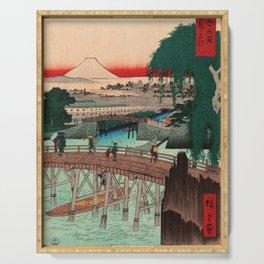 Vintage Woodblock - Ikkoku Bridge Japan Serving Tray