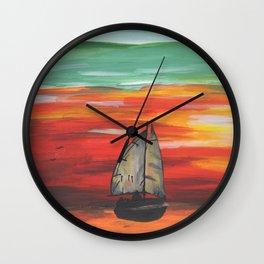 Sailboat at Sea During Sunrise Wall Clock
