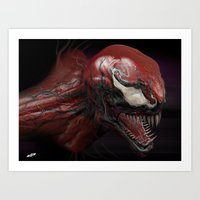 carnage Art Prints featuring Carnage by Dopepope