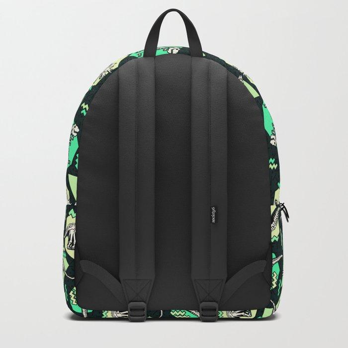90's Dinosaur Skeleton Neon Pattern Backpack