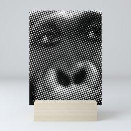 Halftone Gorilla face in Black and White  Mini Art Print