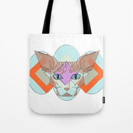 Geometric Hairless Cat Tote Bag