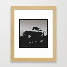 Fiat 500 classic, Gray on Black Framed Art Print