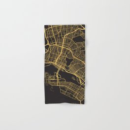 OAKLAND CALIFORNIA GOLD ON BLACK CITY MAP Hand & Bath Towel