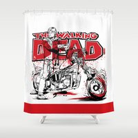 daryl dixon Shower Curtains featuring TWD DARYL SQUIRREL DIXON by Akyanyme
