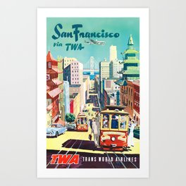 San Francisco via TWA - Vintage Travel Poster Art Print