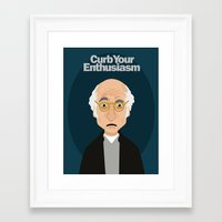 larry david Framed Art Prints featuring Larry David by Spencer Rizk
