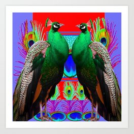 GREEN PEACOCKS & RED-PURPLE  MODERN ART Art Print