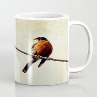 robin Mugs featuring Robin by Beverly LeFevre