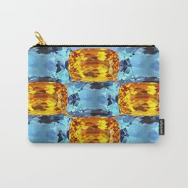 Gemmy Golden Topaz & Aquamarines Birthstone Gems Art Design. Carry-All Pouch