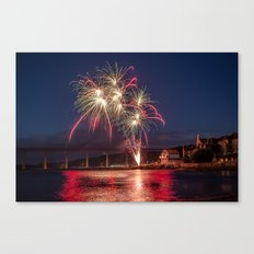 Fireworks over North Queensferry Canvas Print