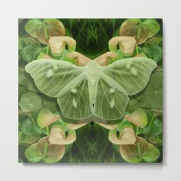 Green Glow Butterfly Metal Print