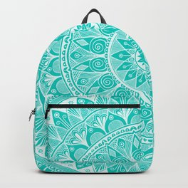 Turquoise and White Mandala 5 Backpack