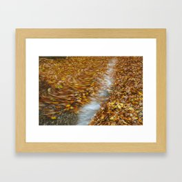 Abstract of autumnal leaves in the waves on Buttermere. Lake District, UK. Framed Art Print
