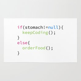 Keep coding or order food Rug