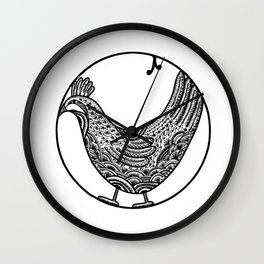 Chicken Boho Black ink Paisley art Wall Clock
