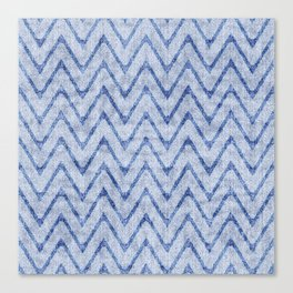 Sky and Ocean Blue Zigzag Imitation Terry Towel Canvas Print