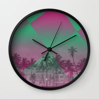 miami Wall Clocks featuring Miami by Sander Smit