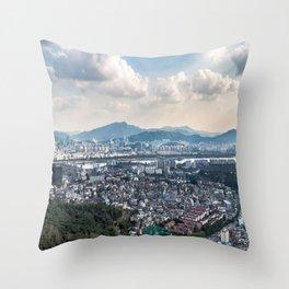 Seoul from Namsan Mountain Throw Pillow