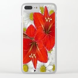 RED AMARYLLIS WHITE DAISIES FLORAL ART Clear iPhone Case