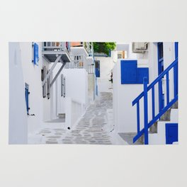 Beautiful Whitewashed Street Mykonos Greece Rug