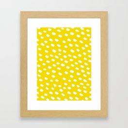 Brush Dot Pattern Yellow Framed Art Print