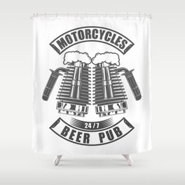 Beer pub emblem in vintage monochrome motorcycle style Shower Curtain