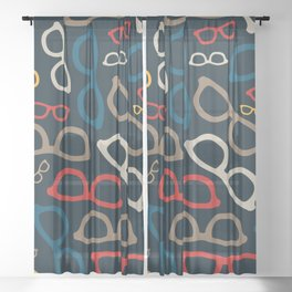 Colorful Smart Glasses Pattern Sheer Curtain