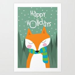 Cute Fox Happy Holidays Art Print