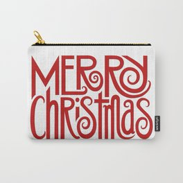 Merry Christmas Text red Carry-All Pouch