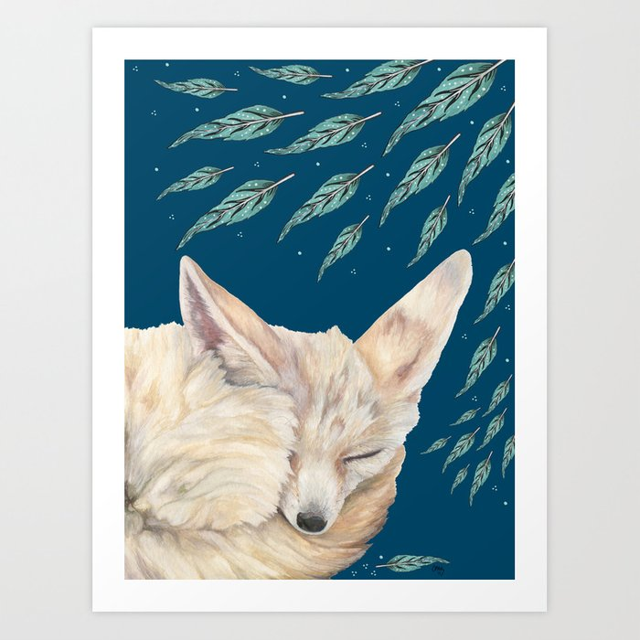 Fennec Fox Feather Dreams in Turquoise Art Print