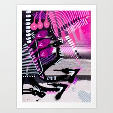 Wave black Art Print