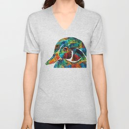 Colorful Wood Duck Art by Sharon Cummings Unisex V-Neck
